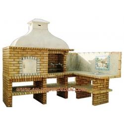 Barbecue et four a bois d angle en brique ff 903 au for Barbecue d angle en brique