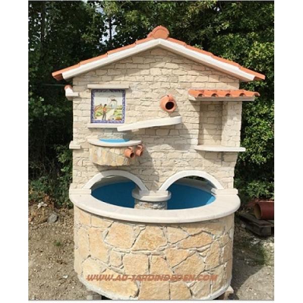 puit en pierre pour jardin exemple dun bassin de jardin en pierre de forme octogonale avec. Black Bedroom Furniture Sets. Home Design Ideas