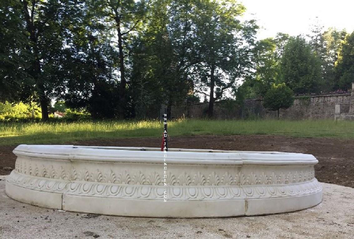 Bassin en pierre reconstitu e rond 310cm nimes au jardin for Bassin de jardin prix