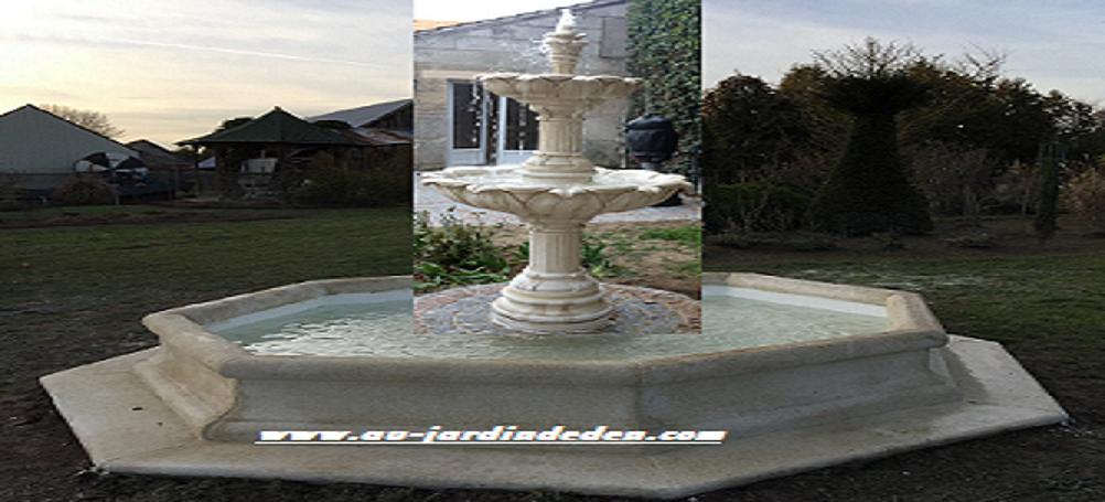 FONTAINE EN PIERRE OCTOGONAL 2 VASQUES | Au Jardin D\'eden
