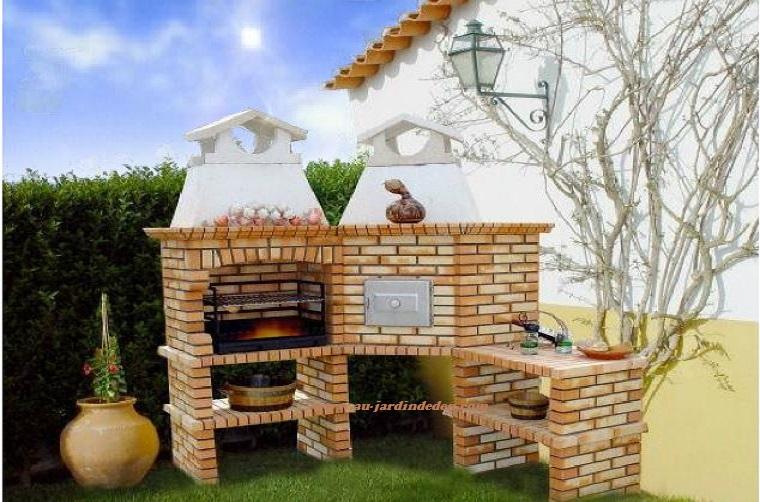 Barbecue et four a bois d angle en brique leopard ludo for Barbecue d angle en brique