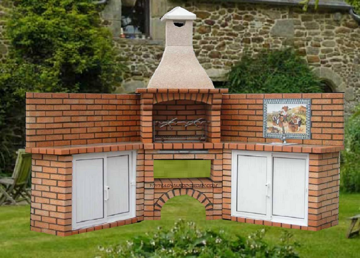 Barbecue en brique r fractaire ff 450a au jardin d 39 eden for Fabriquer un barbecue en brique refractaire