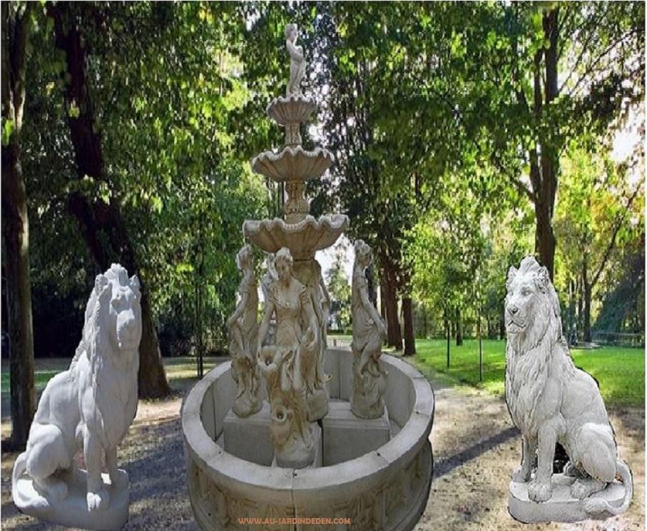 Fontaine exterieur en pierre aux nymphes a au jardin d 39 eden for Fontaine exterieur en pierre