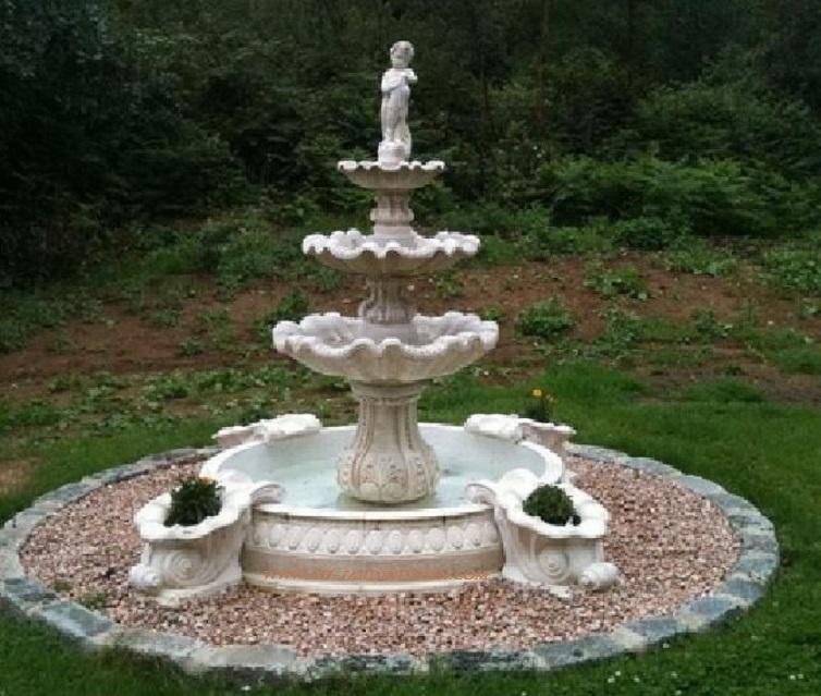Fontaine exterieur en pierre 4bacs a fleurs a au jardin - Fontaine d exterieur en pierre ...