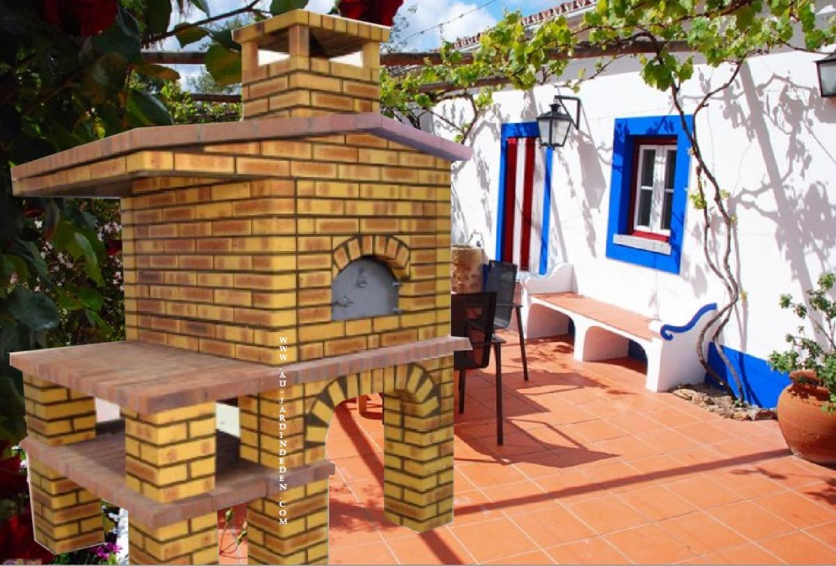 Barbecue et four a bois l j 156 au jardin d 39 eden - Barbecue en brique refractaire ...