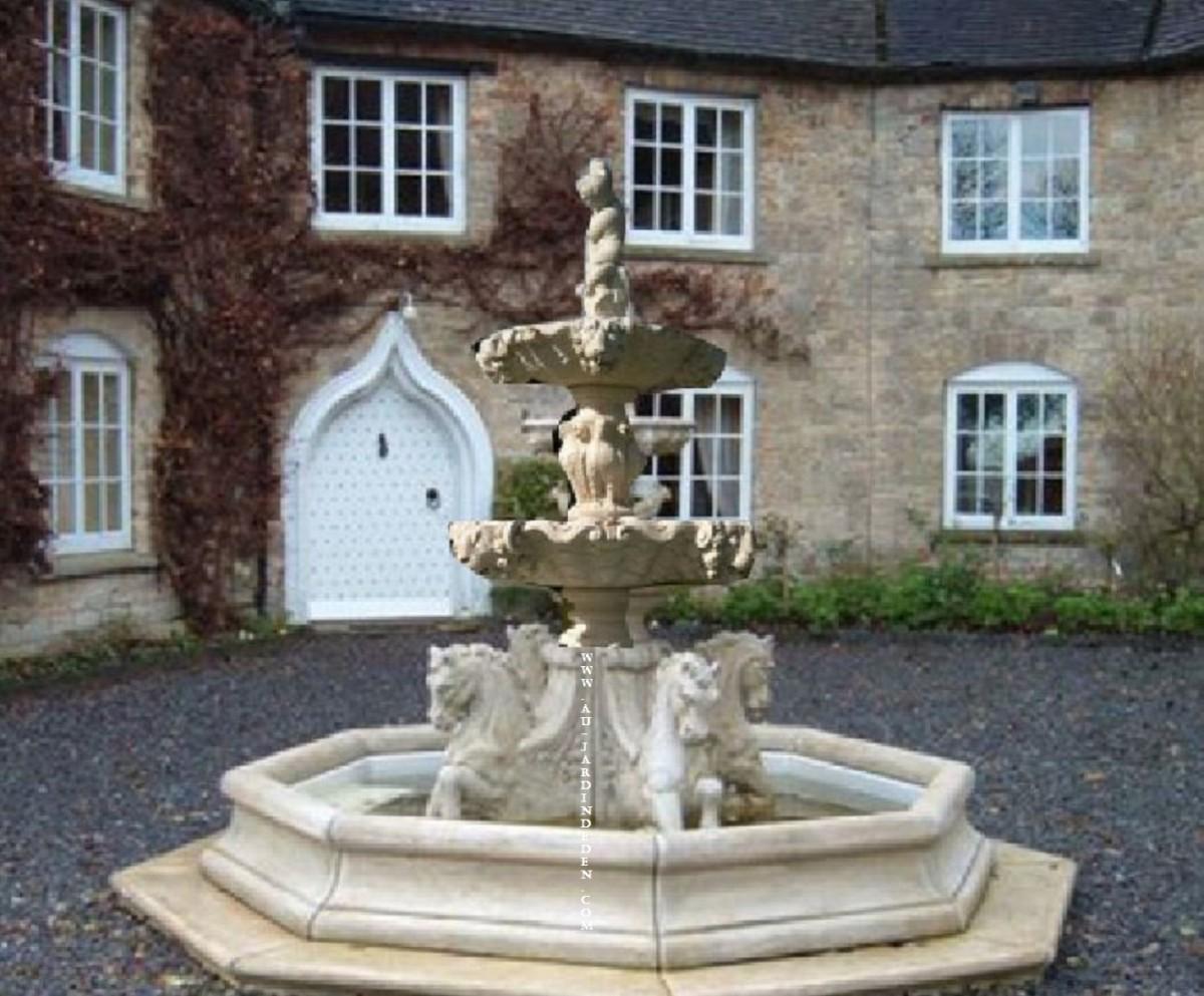 fontaine bassin octogonal en pierre aux chevaux a au jardin d 39 eden. Black Bedroom Furniture Sets. Home Design Ideas