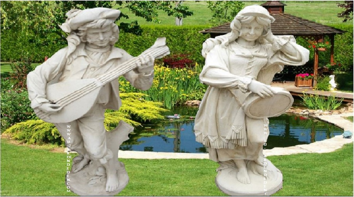 statue de jardin en pierre reconstituee couple baladins a. Black Bedroom Furniture Sets. Home Design Ideas