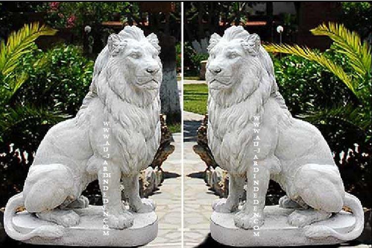 Statue en pierre reconstituee lions droit et gauche 250kg - Statue pierre reconstituee pour jardin ...