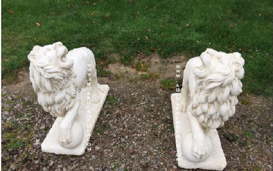 Statue de jardin lions ballon 200kg au jardin d 39 eden - Statue de jardin en pierre reconstituee ...