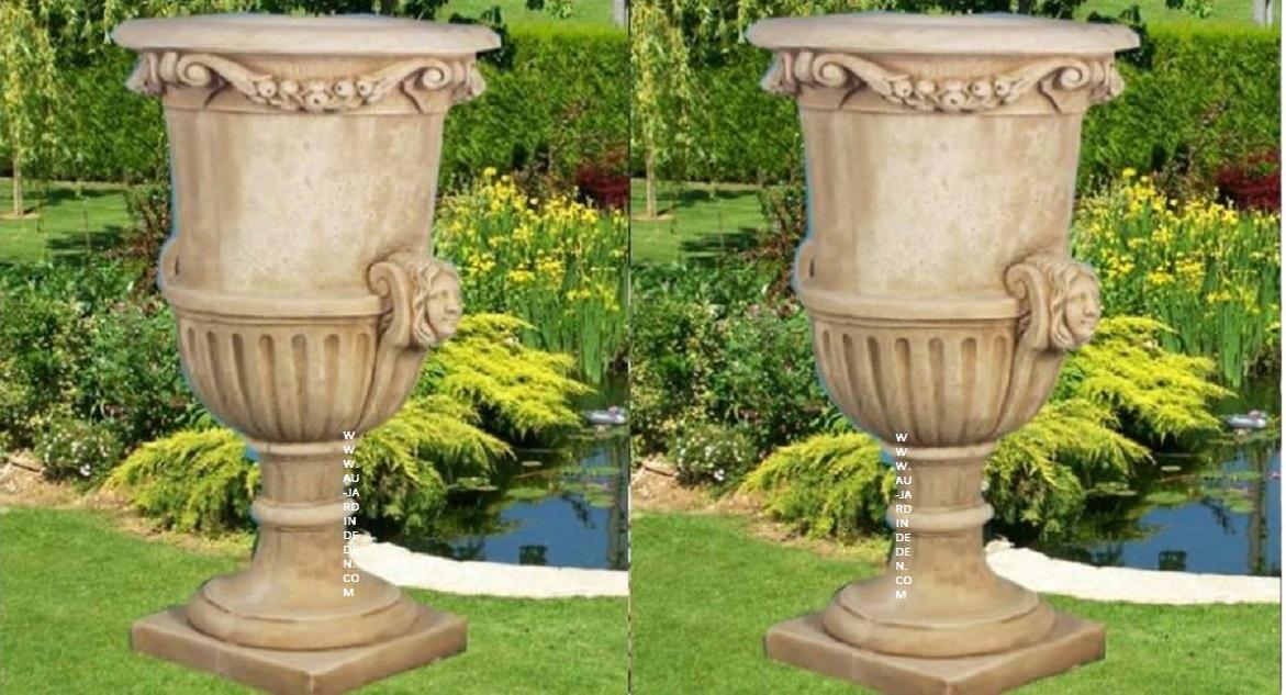 Vase rond en pierre reconstituee ff 702 au jardin d 39 eden - Vase en pierre jardin ...