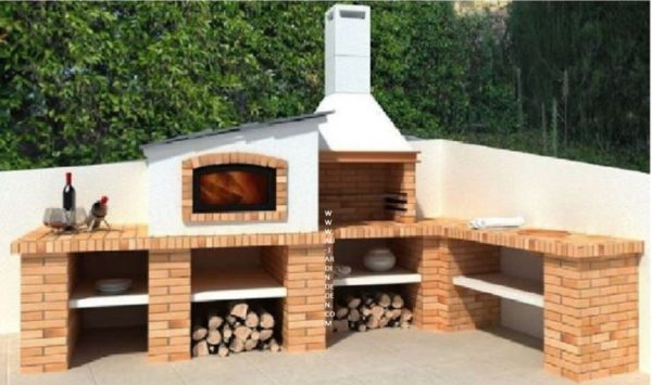 Barbecue d angle fixe exterieur en briques ff1600 a au for Pierre exterieur